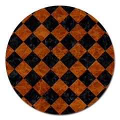 Square2 Black Marble & Brown Marble Magnet 5  (round) by trendistuff