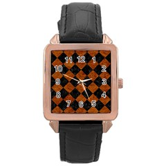 Square2 Black Marble & Brown Marble Rose Gold Leather Watch  by trendistuff