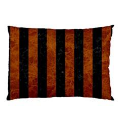 Stripes1 Black Marble & Brown Marble Pillow Case (two Sides) by trendistuff