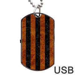 Stripes1 Black Marble & Brown Marble Dog Tag Usb Flash (one Side) by trendistuff