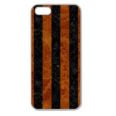 Stripes1 Black Marble & Brown Marble Apple Seamless Iphone 5 Case (clear) by trendistuff
