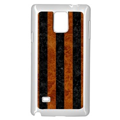 Stripes1 Black Marble & Brown Marble Samsung Galaxy Note 4 Case (white) by trendistuff