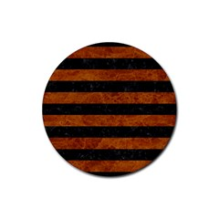Stripes2 Black Marble & Brown Marble Rubber Coaster (round) by trendistuff