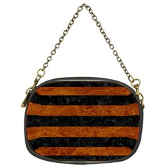 Stripes2 Black Marble & Brown Marble Chain Purse (two Sides) by trendistuff