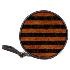 Stripes2 Black Marble & Brown Marble Classic 20 Cd Wallet by trendistuff