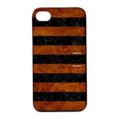 Stripes2 Black Marble & Brown Marble Apple Iphone 4/4s Hardshell Case With Stand by trendistuff