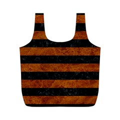 Stripes2 Black Marble & Brown Marble Full Print Recycle Bag (m) by trendistuff