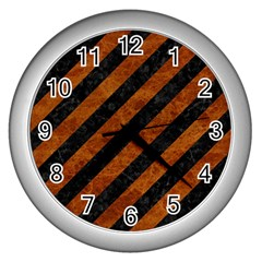 Stripes3 Black Marble & Brown Marble Wall Clock (silver) by trendistuff