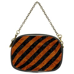 Stripes3 Black Marble & Brown Marble Chain Purse (one Side) by trendistuff