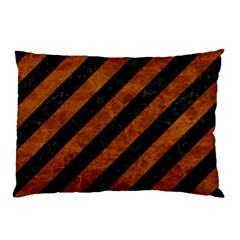 Stripes3 Black Marble & Brown Marble Pillow Case (two Sides) by trendistuff