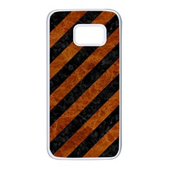 Stripes3 Black Marble & Brown Marble Samsung Galaxy S7 White Seamless Case by trendistuff