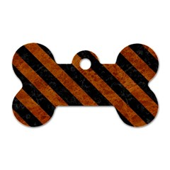 Stripes3 Black Marble & Brown Marble (r) Dog Tag Bone (one Side)