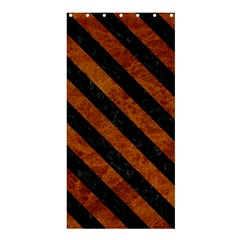 Stripes3 Black Marble & Brown Marble (r) Shower Curtain 36  X 72  (stall) by trendistuff