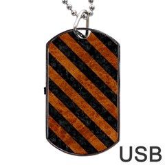 Stripes3 Black Marble & Brown Marble (r) Dog Tag Usb Flash (one Side) by trendistuff