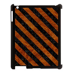 Stripes3 Black Marble & Brown Marble (r) Apple Ipad 3/4 Case (black) by trendistuff