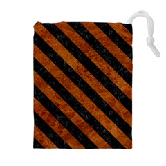 Stripes3 Black Marble & Brown Marble (r) Drawstring Pouch (xl)