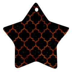 Tile1 Black Marble & Brown Marble Star Ornament (two Sides) by trendistuff