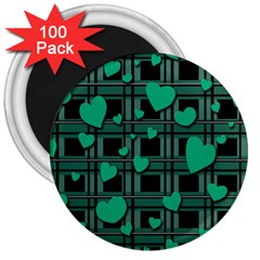 Green Love 3  Magnets (100 Pack) by Valentinaart