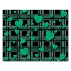 Green Love Rectangular Jigsaw Puzzl by Valentinaart