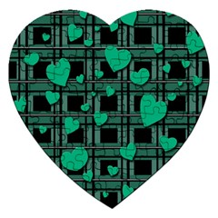 Green Love Jigsaw Puzzle (heart) by Valentinaart