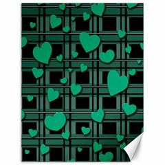 Green Love Canvas 12  X 16   by Valentinaart