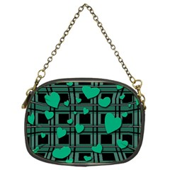 Green Love Chain Purses (two Sides)  by Valentinaart