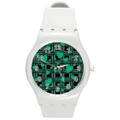 Green Love Round Plastic Sport Watch (m) by Valentinaart