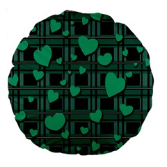 Green Love Large 18  Premium Round Cushions by Valentinaart