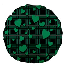 Green Love Large 18  Premium Flano Round Cushions by Valentinaart