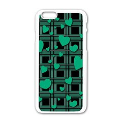 Green Love Apple Iphone 6/6s White Enamel Case by Valentinaart