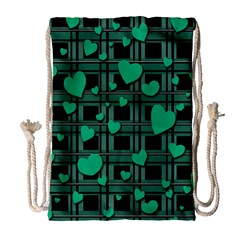 Green Love Drawstring Bag (large) by Valentinaart