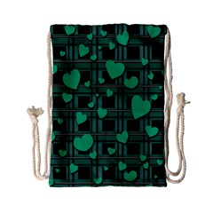 Green Love Drawstring Bag (small) by Valentinaart
