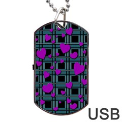 Purple Love Dog Tag Usb Flash (two Sides)  by Valentinaart