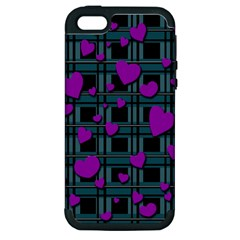 Purple Love Apple Iphone 5 Hardshell Case (pc+silicone) by Valentinaart