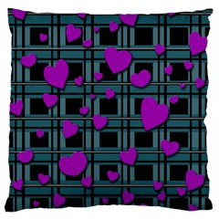 Purple Love Large Flano Cushion Case (one Side) by Valentinaart