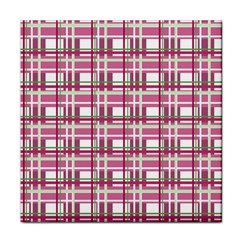 Pink Plaid Pattern Tile Coasters by Valentinaart