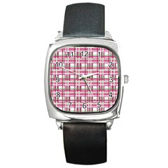 Pink Plaid Pattern Square Metal Watch by Valentinaart
