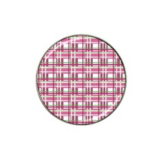 Pink Plaid Pattern Hat Clip Ball Marker (4 Pack) by Valentinaart
