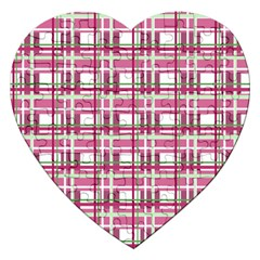 Pink Plaid Pattern Jigsaw Puzzle (heart) by Valentinaart