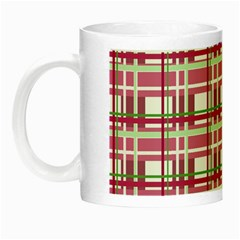 Pink Plaid Pattern Night Luminous Mugs by Valentinaart