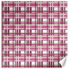 Pink Plaid Pattern Canvas 16  X 16   by Valentinaart
