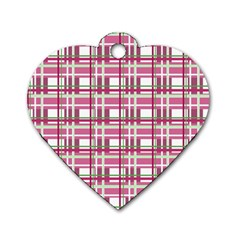Pink Plaid Pattern Dog Tag Heart (one Side) by Valentinaart