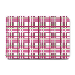 Pink Plaid Pattern Small Doormat  by Valentinaart