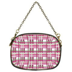 Pink Plaid Pattern Chain Purses (two Sides)  by Valentinaart