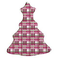 Pink Plaid Pattern Christmas Tree Ornament (2 Sides) by Valentinaart