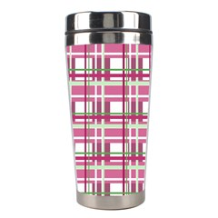 Pink Plaid Pattern Stainless Steel Travel Tumblers by Valentinaart