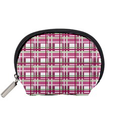 Pink Plaid Pattern Accessory Pouches (small)  by Valentinaart