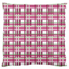 Pink Plaid Pattern Large Flano Cushion Case (one Side) by Valentinaart
