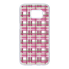 Pink Plaid Pattern Samsung Galaxy S7 Edge White Seamless Case
