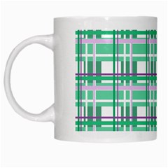 Green Plaid Pattern White Mugs by Valentinaart